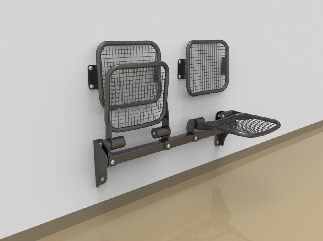 Twosome fold down sitting bench with wire mesh sitting surface and back rest