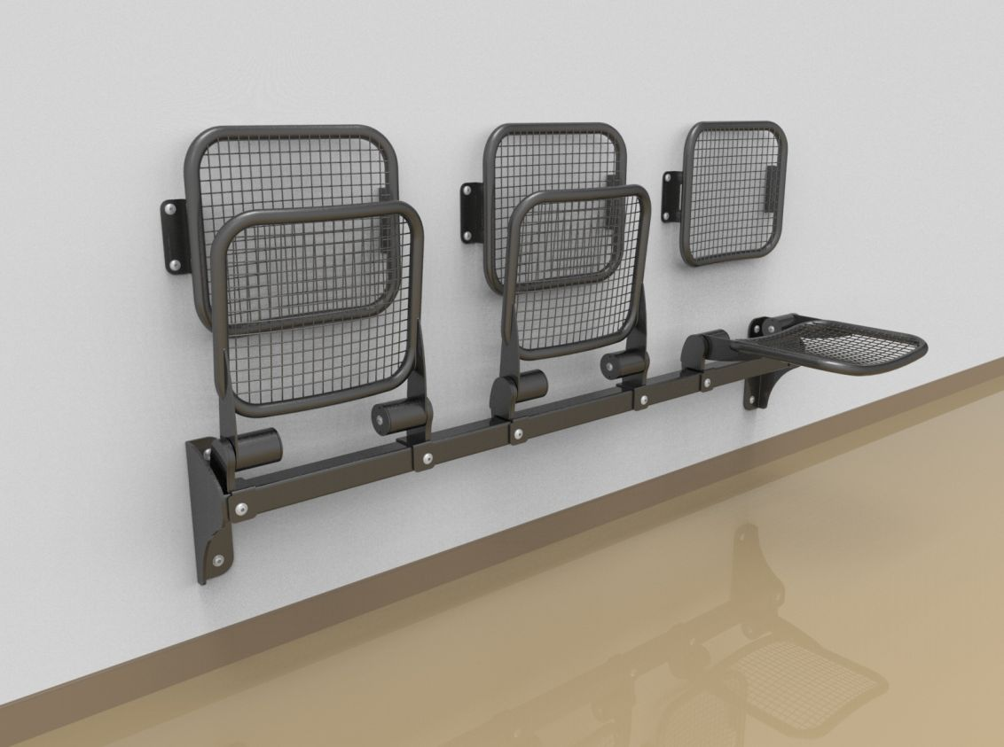 Threesome fold down sitting bench with wire mesh sitting surface and back rest