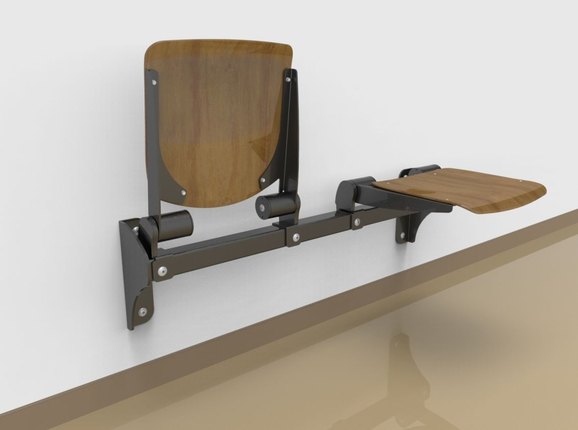 Twosome fold down sitting bench with beech wood sitting surface