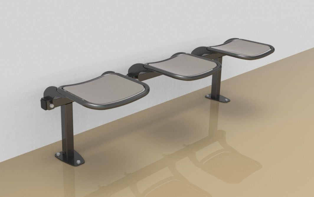 Threesome rigid sitting bench with smooth aluminium sitting surface