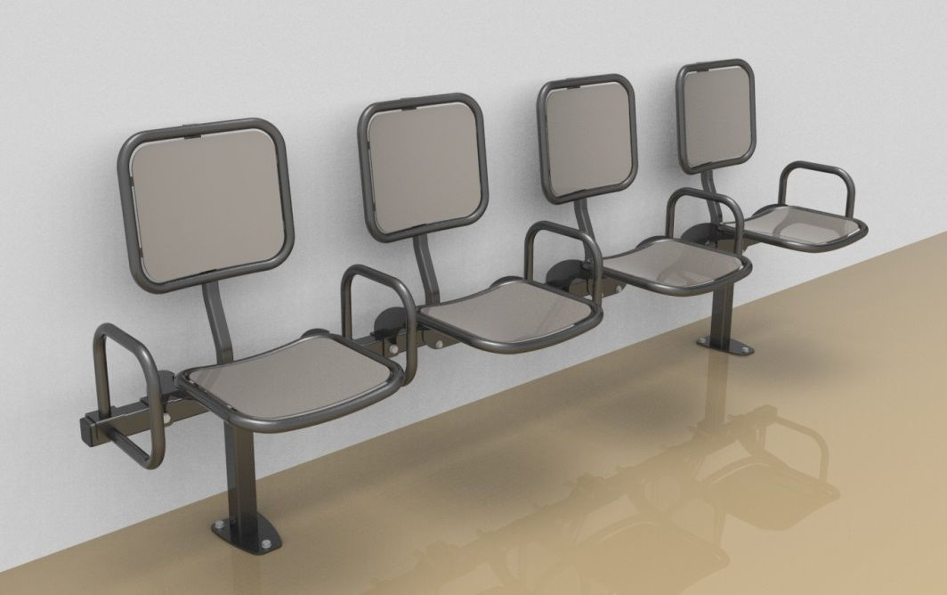 Foursome rigid sitting bench with smooth aluminium sitting surface, back rest and arm rests