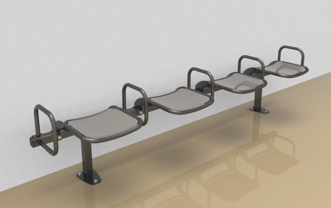 Foursome rigid sitting bench with smooth aluminium sitting surface and arm rests