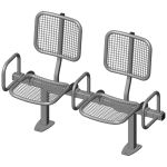 Twosome rigid sitting bench with wire mesh sitting surface, back rest and arm rests