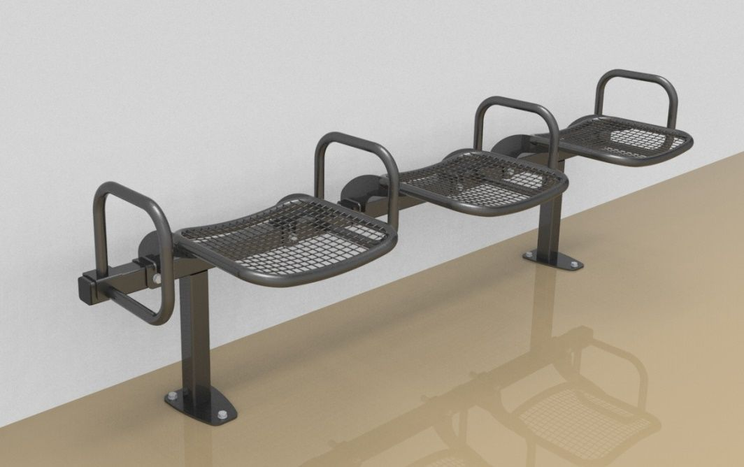 Threesome rigid sitting bench with wire mesh sitting surface and arm rests