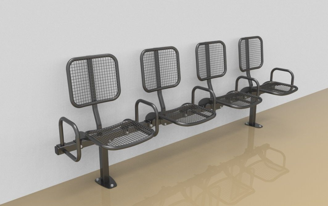 Foursome rigid sitting bench with wire mesh sitting surface, back rest and arm rests