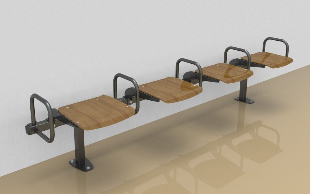 Foursome rigid sitting bench with beech wood sitting surface and arm rests