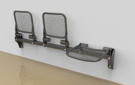 "Benches ""Palati"", with wire mesh sitting surface"